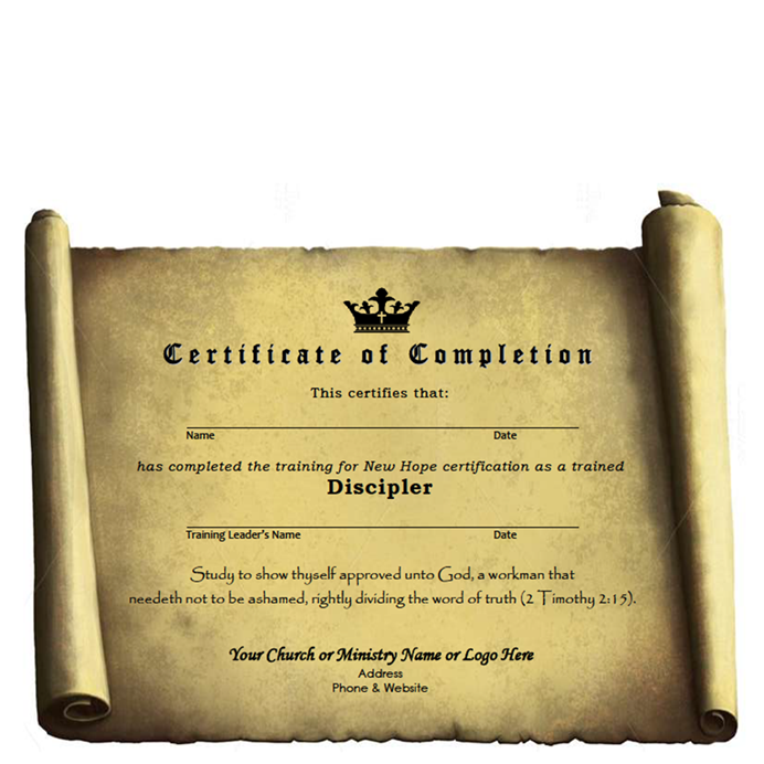 discipler training certificate of completion