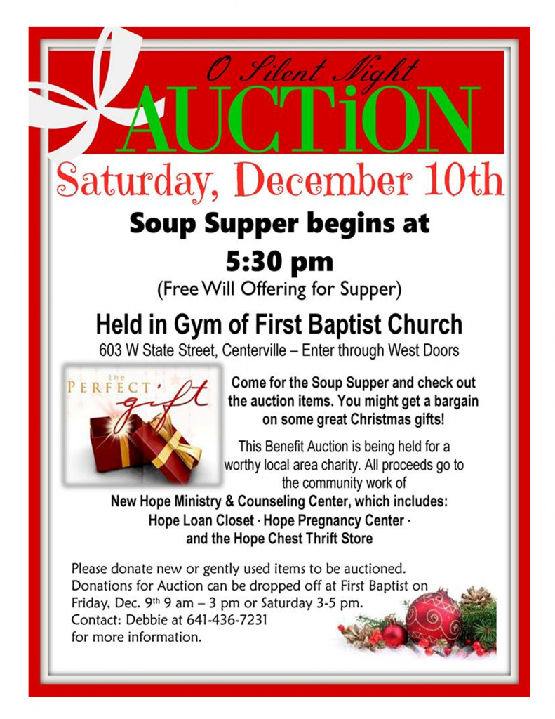 Benefit Auction & Soup Supper for New Hope!